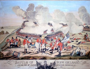 This painting shows the death of General Packenham as he is brought to the rear of the English army's position. An officer weeps with a handkerchief at this death. However, another painting was commissioned to edit that feature in order to make it look more manly and honorable. The revised version shows the English officer pointing across his face. Both versions are on display at The Historic New Orleans Collection galleries.