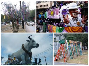 Clockwise from top left: Mardi Gras beads hanging year round in trees along parade routes; the Bigshot float in the Zulu Parade, seated ladders are a common site along St. Charles during Mardi Gras; the Buoef Gras float in the Rex parade.