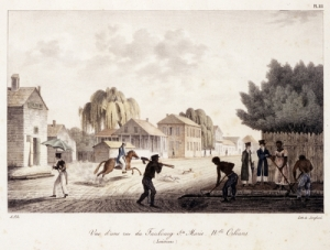 """Vue d'une Rue du Faubourg Ste. Marie, Nelle. Orleans. (Louisiane)."" This lithograph portrays a street scene of teh Faubourg Ste. Marie, which was also named for Marie Josepha Deslonde. The scene starkly contrasts with the present day Central Business District."